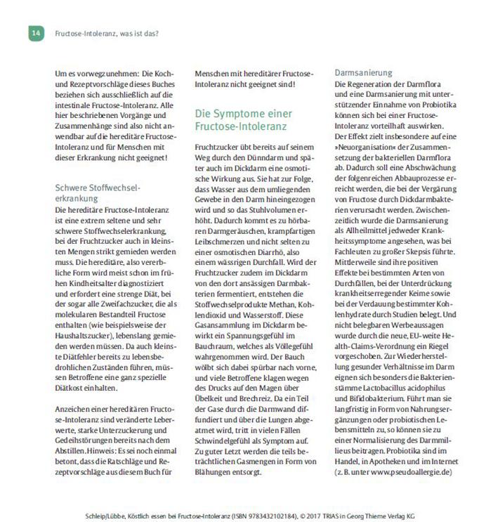 Kochbuch Köstlich Essen Fructoseintoleranz Seite 14
