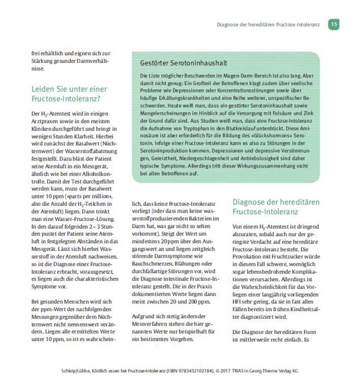 Kochbuch Köstlich Essen Fructoseintoleranz Seite 15