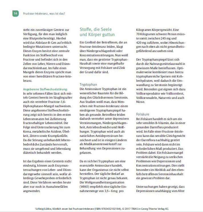 Kochbuch Köstlich Essen Fructoseintoleranz Seite 16