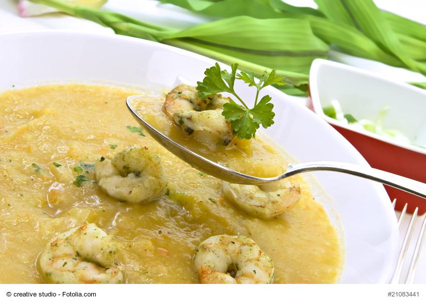 Kartoffel-Sellerie-Suppe mit Garnelen bei Fructoseintoleranz